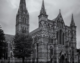 Salisbury Cathedral, Salisbury, England, Anglican Church, Black and White, United Kingdom - Travel Photography, Print, Wall Art