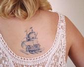Delft Blue ship temporary tattoo / Delft Blue temporary tattoo / boat temporary tattoo / sailor temporary tattoo / nautical temporary tattoo