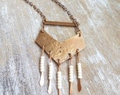 Long Copper Fringed Chevron Necklace - Boho Jewelry