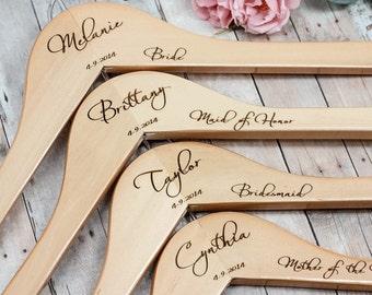 Set of 7 Personalized Wooden Hangers / Bridesmaid Hangers / Engraved  Custom Hanger