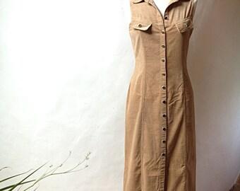 Sleeveless vintage beige DRESS in corduroy - Size 2 (6 US)