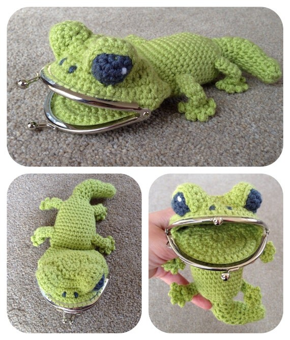 Crochet Change Purse Pattern : Gecko Coin / Change Purse Crochet Pattern by LauLovesCrochet