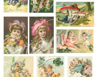 Flower Fairies and Gnomes Instant Download Vintage Fairies and Pixies Digital Collage Sheet Decoupage Paper Scrapbooking Kit