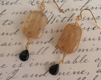 WIRE WRAPPED STONE earrings with french hook