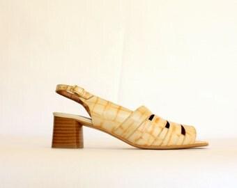 90s orangey leather strappy sandals tortoiseshell effect s 39/ US 8.5/ UK 6