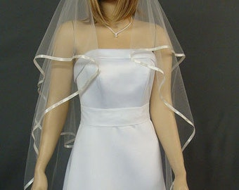 Ribbon Edge Bridal Veil, Knee Length Wedding Veil, 2 Layer Veil