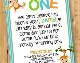 Boy's Monkey Birthday Invitation // Birthday Party Digital Invite