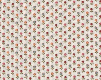 3 YARD CUT Pink Floral Sprig Print Fabric Reproduction Historical Quilting Cotton Doll Clothes Past Crafts 19th Century Civil War