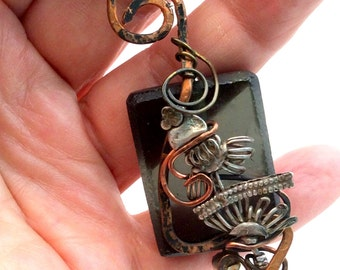 Black Beach Glass Art Pendant  Sterling Silver, Copper, Oxidized.Free US ship 45.00