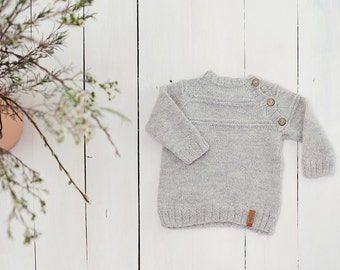 SALE 30% OFF Grey baby sweater / Hand knit alpaca Baby Cardigan / Girl / Boy sweater / Kids sweater / Children sweater/  Toddler sweater
