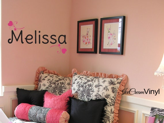 Girls Name Wall Decal with Elegant Hearts Nursery Vinyl Wall Decal Monogram Baby Name