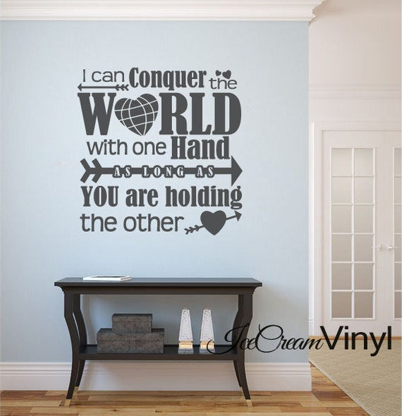 I Can Conquer The World Inspirational Wall Decal Scripture Wall Decal Bedroom Family Room Home Decor Vinyl Lettering