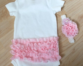 Shabby Chic Baby Girl Soft Baby Pink Ruffle Onesie / Headband  / Baby Shower Gift / Bodysuit / Bring Home Baby Outfit