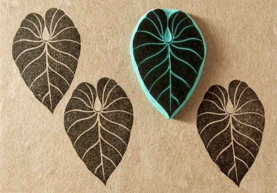 Tropical leaf rubber stamp hipster stamping decor by