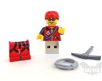 Lego minifigure usb drive 8/16/32/64GB - Lego® original Minifigure - Climber with gear - Lego usb with legs cap - Minifigure usb