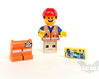 Lego minifigure usb 8/16/32/64GB - Memory Stick - Lego® original Minifigure - Emmet from The Lego movie & base - Lego usb with legs cap