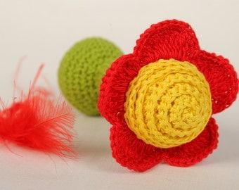 Crochet baby rattle Amigurumi Crochet Flower Rattle Eco friendly Rattle Baby Shower Gift Christmas gift