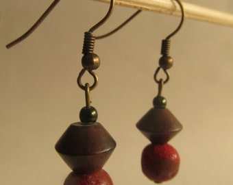 2215 - Coral Earrings, Wood