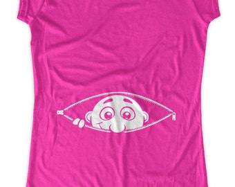 Zipper Peekaboo  funny  Maternity T-Shirt Clothes Top - belly print  - Made From Bamboo - SUPER SOFT & Stretchy
