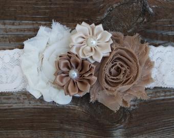 Rustic headband. Lace baby headband. Baby girl flower headband. Girl lace headband. Country wedding headband. Vintage headband