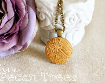 Mustard Lace on Mustard Fabric Pendant Necklace - Everyday Jewelry - Bridesmaid Jewelry
