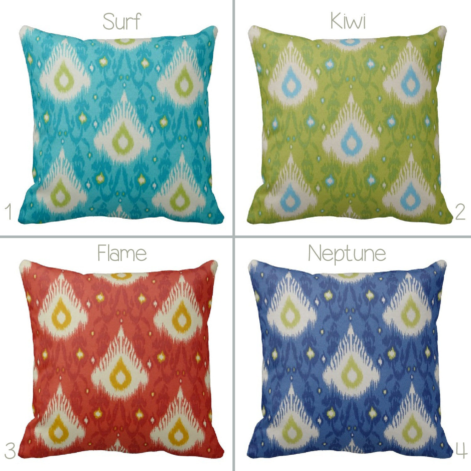 How To Make Zippered Throw Pillow Covers : Zippered OUTDOOR Ikat Throw Pillow Cover Teal Lime Green Red