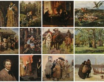 Vasnetsov, Set of 12 postcards with paintings, Russian Art, Unused Postcard, Soviet Vintage Postcard, Izogiz, USSR,1959
