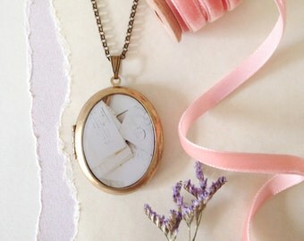 Vintage Love Letters Locket - French Envelopes Brass Photo Locket Necklace