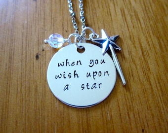 "Pinocchio Inspired Necklace. Jiminy Cricket ""When You Wish Upon A Star"".  crystals, for women or girls. Hand stamped. Pinocchio"