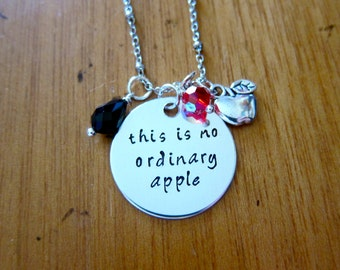 """Snow White Inspired Necklace. Poison Apple. Evil Queen Villain. """"This is no ordinary apple"""". Snow White. Silver colored.  crystals"""