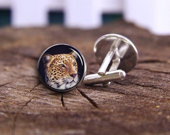 Cheetah Cuff Links, Leopard Cufflinks, Silver Plated Cuff Links, Custom Any Animal Cuff Links, Wild Animals Wildlife, Personalized Cufflinks