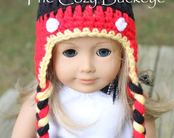 Mickey Mouse Disney's Mickey Mouse Pom Pom Hat for American Girl Doll 18 inch doll Character Hat Doll Clothes