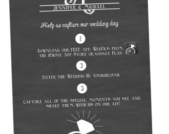 Chalkboard Wedding App Sign {Digital File} Wedding Pictures App
