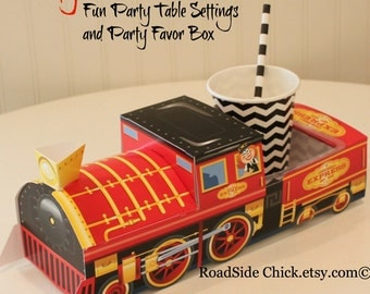Train Food Box - 6 Train Party Food Boxes-Kids Food Box-Train Party-Thomas The Train-Cute Party Tray-Lunch Box-Train Party Favor Box