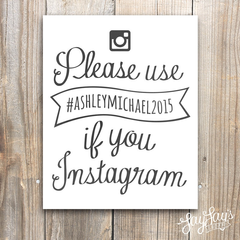 Wedding hashtag instagram sign reception decor ceremony for Decor hashtags