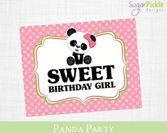 Panda Birthday Sign, Birthday Sign printable, Welcome Sign, Panda Party Printable, Panda Party Decorations