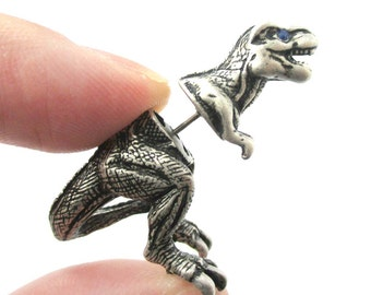 3D Realistic T-Rex Tyrannosaurus Dinosaur Shaped Animal Fake Gauge Plug Earrings in Silver | Unique Faux Ear Piercings