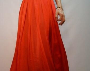 Summer Long Skirt/Coral Skirt/Convertible Skirt/Asymmetrical Skirt/Casual Skirt/F1118