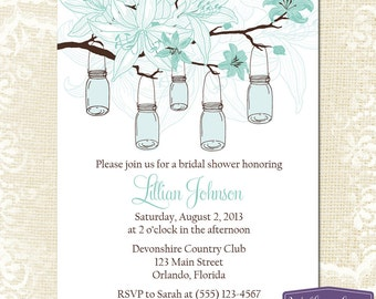 Blue Mason Jar Bridal Shower Invitation - Hanging Mason Jars Bridal Shower Invite - Lilies Wedding Shower - Lilies Bridal - 1237 PRINTABLE