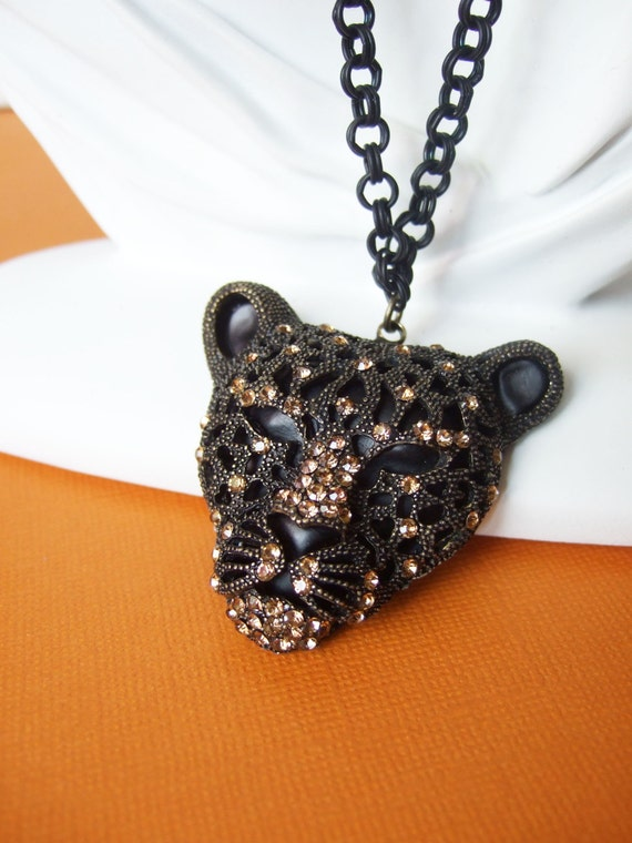 Panther Jewelry Necklace Metal Black Jaquar Jewellery Cougar