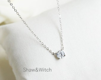 Sterling Silver Crystal Necklace - Cubic Zirconia Necklace - Simple Sweet Everyday Jewelry