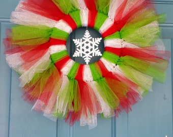 Christmas Wreath, Tulle wreath, Snowflake Wreath, Winter Wreaths Holiday Wreaths Christmas wreaths Wreath holiday wreath door wreaths