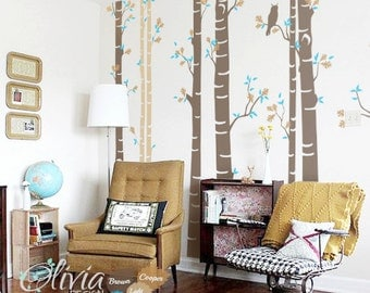 Set of 9 Large Birch Tree vinyl wall decal  with Owl -NT004