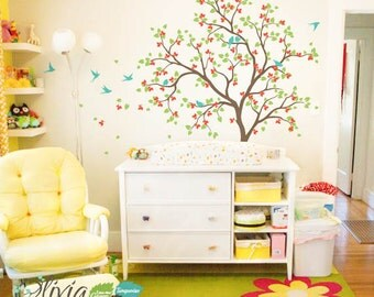 Tree Wall Decal with Bird Stickers for Baby Nursery - NT014