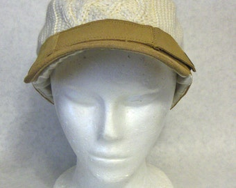 Ivory and Tan 'Rip Curl' Wool Cable Knit & Suede Cap, Satin Lining, One Size