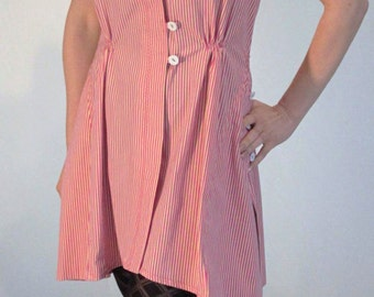 Summerdress, sleeveless, striped and in cotton fabric