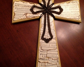 Stacked Cross with Hymn Sheet Music