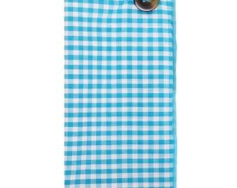 Aqua Blue and White Gingham Pocket Square