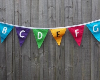 Colourful Alphabet Bunting. Classroom or children's room decoration