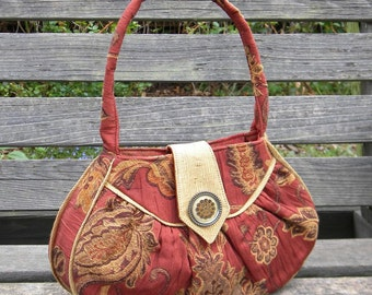 One of a kind hand made purse with antique button accent